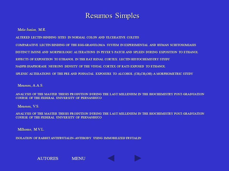 Resumos Simples AUTORES MENU Melo-Junior, M.R. Meneses, A.A.S.