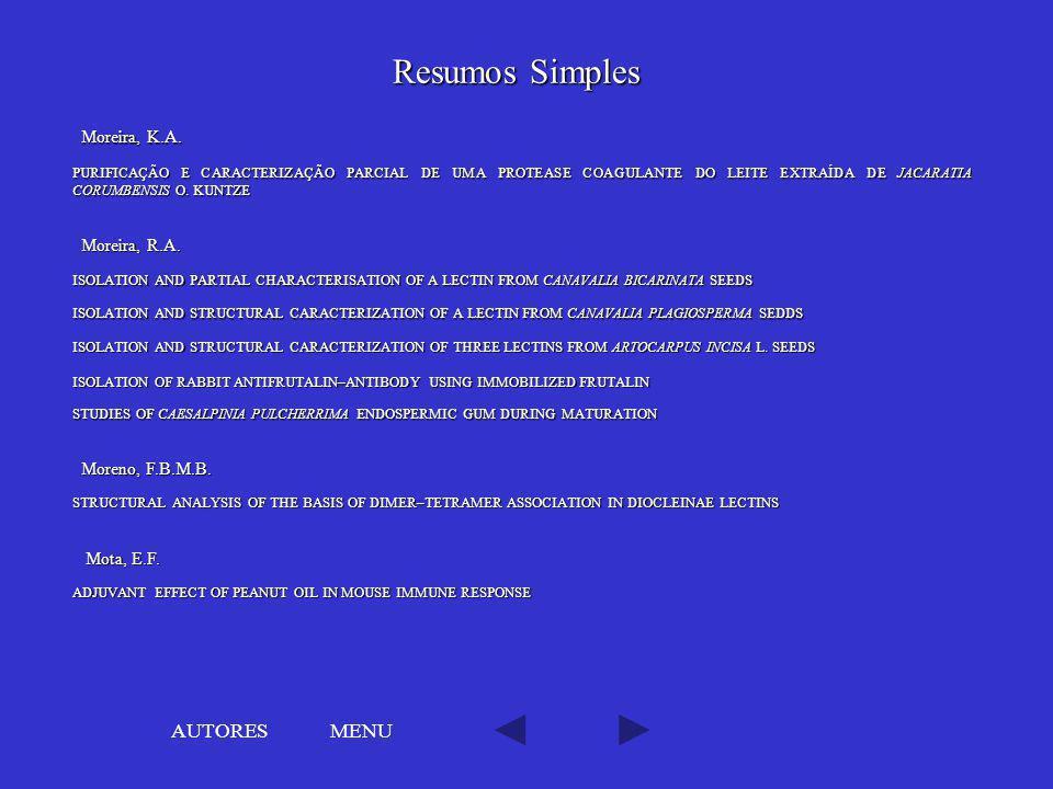 Resumos Simples AUTORES MENU Moreira, K.A. Moreira, R.A.