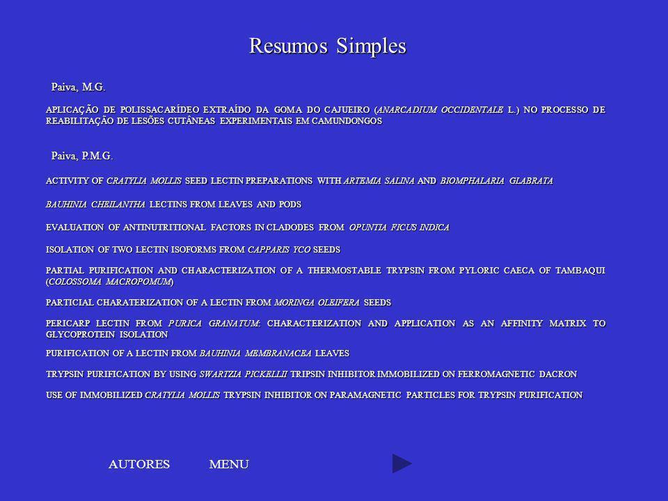Resumos Simples AUTORES MENU Paiva, M.G. Paiva, P.M.G.