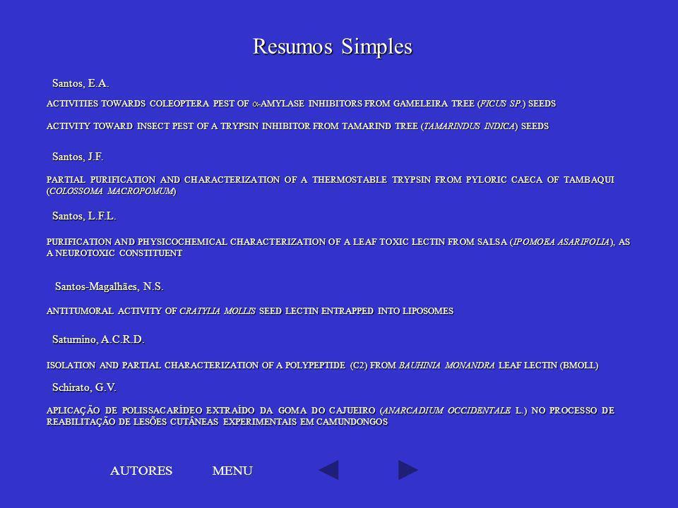 Resumos Simples AUTORES MENU Santos, E.A. Santos, J.F. Santos, L.F.L.