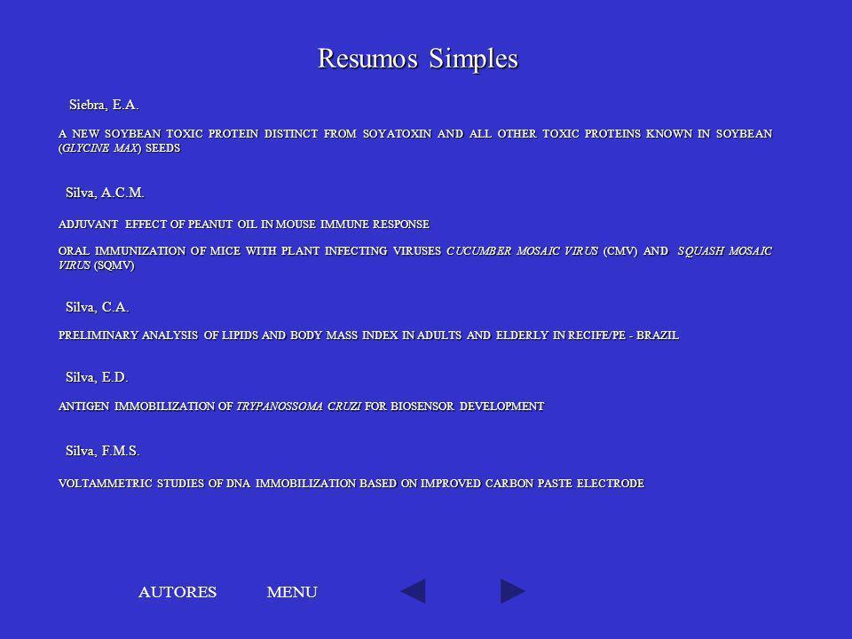 Resumos Simples AUTORES MENU Siebra, E.A. Silva, A.C.M. Silva, C.A.
