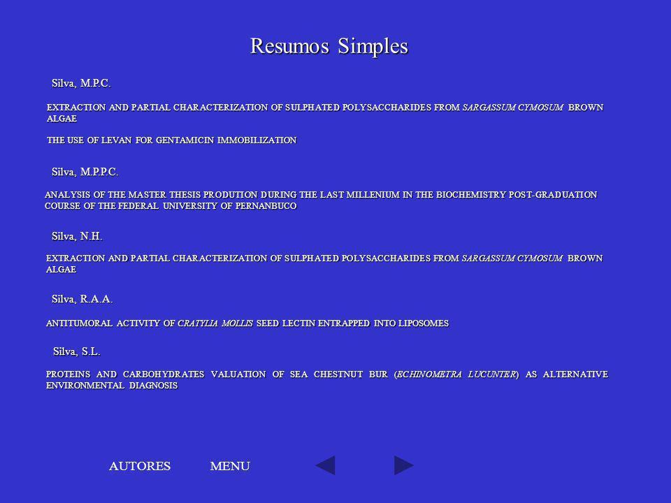 Resumos Simples AUTORES MENU Silva, M.P.C. Silva, M.P.P.C. Silva, N.H.