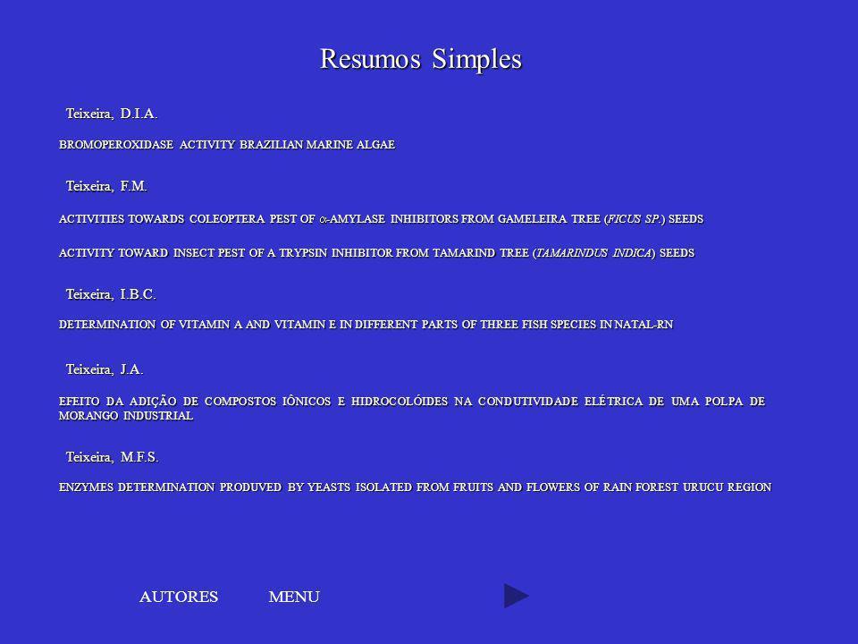Resumos Simples AUTORES MENU Teixeira, D.I.A. Teixeira, F.M.