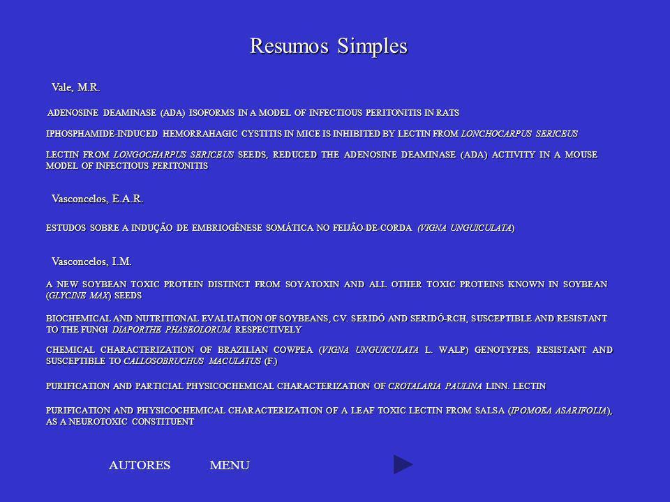Resumos Simples AUTORES MENU Vale, M.R. Vasconcelos, E.A.R.