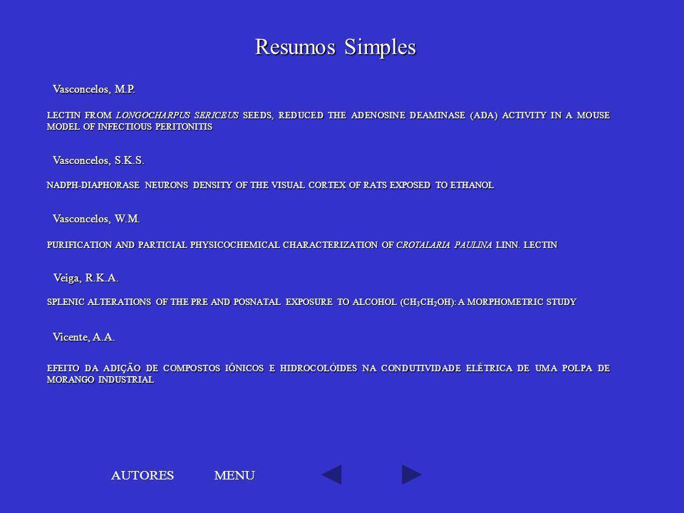 Resumos Simples AUTORES MENU Vasconcelos, M.P. Vasconcelos, S.K.S.