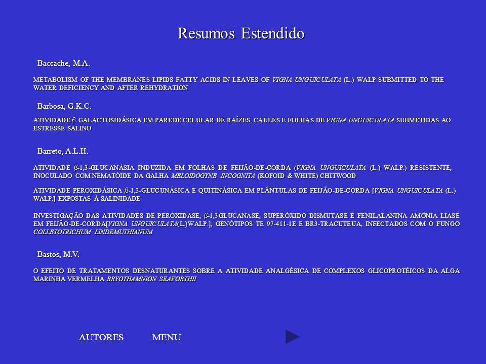 Resumos Estendido AUTORES MENU Baccache, M.A. Barbosa, G.K.C.