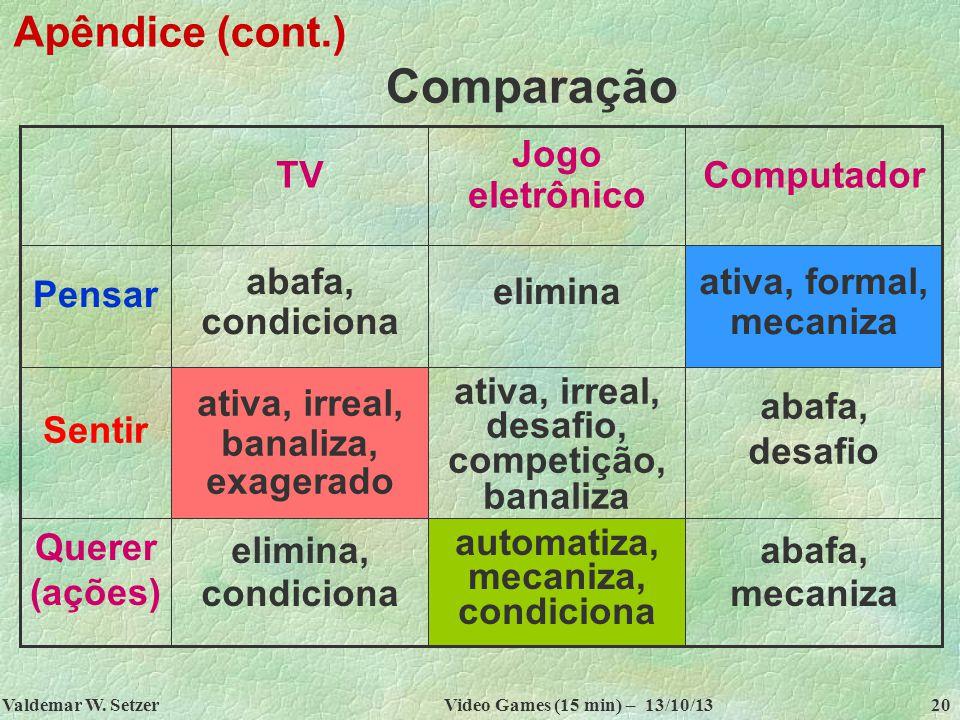 Comparação Apêndice (cont.) abafa, mecaniza automatiza, mecaniza,
