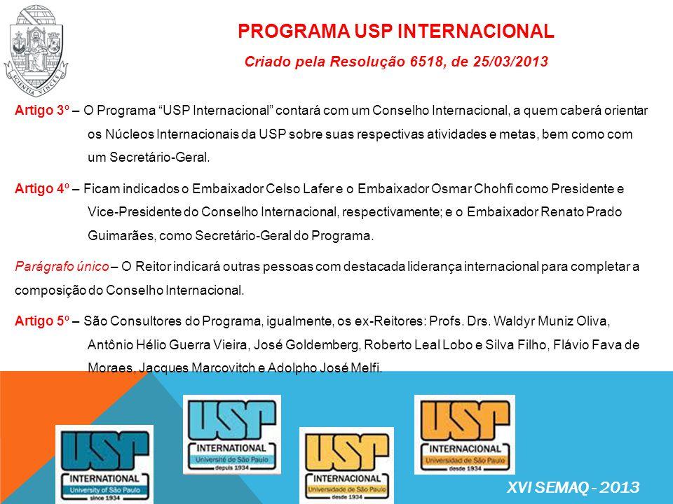 PROGRAMA USP INTERNACIONAL Criado pela Resolução 6518, de 25/03/2013