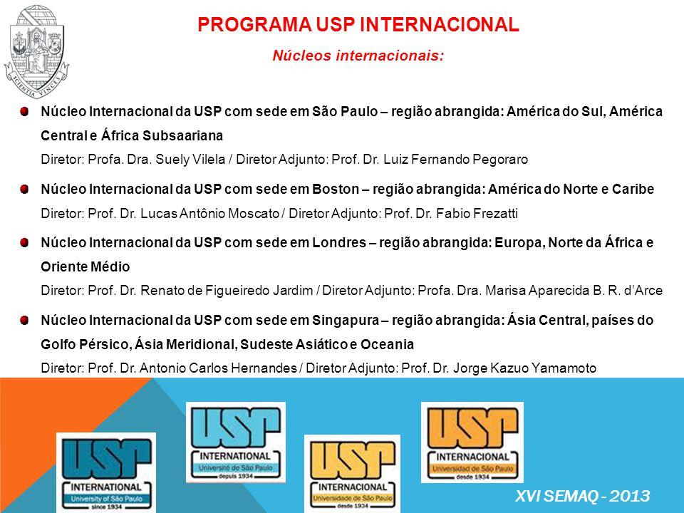 PROGRAMA USP INTERNACIONAL Núcleos internacionais: