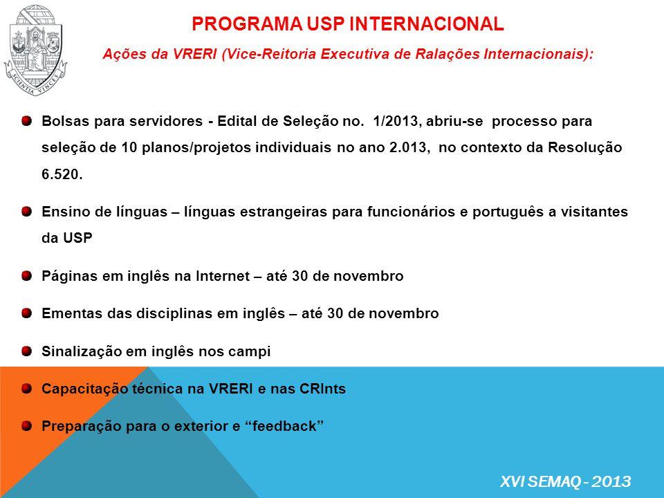 PROGRAMA USP INTERNACIONAL Ações da VRERI (Vice-Reitoria Executiva de Ralações Internacionais):