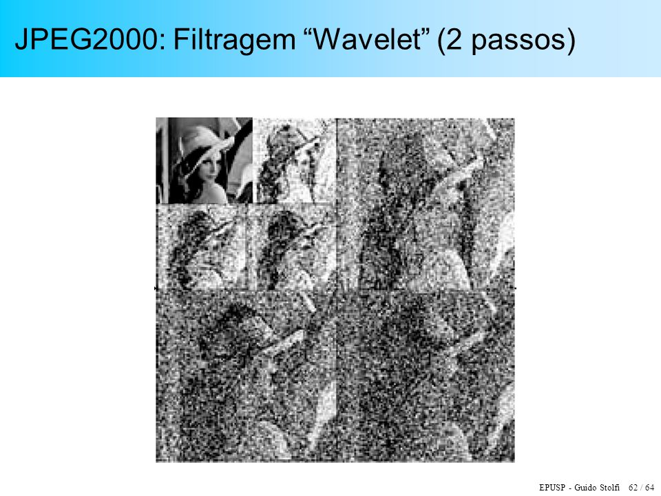 JPEG2000: Filtragem Wavelet (2 passos)