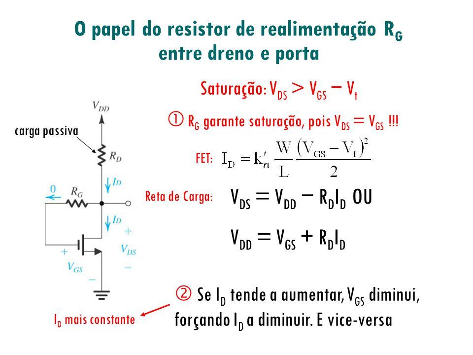 O papel do resistor de realimentação RG entre dreno e porta