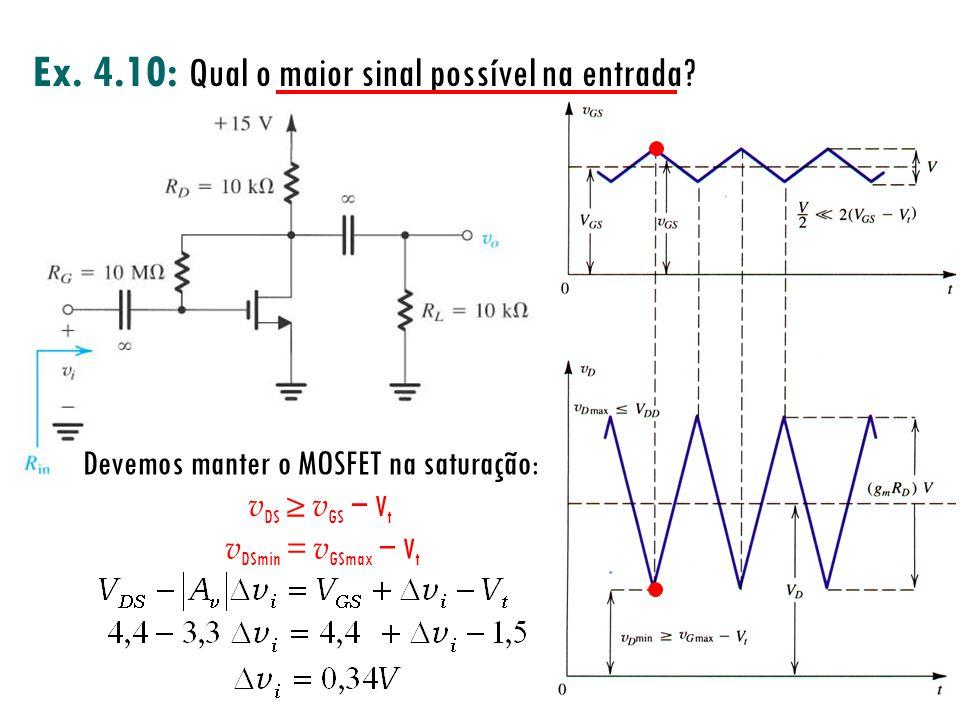Devemos manter o MOSFET na saturação: