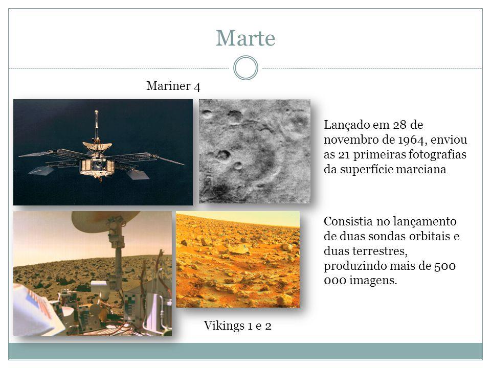 Marte Mariner 4. Lançado em 28 de novembro de 1964, enviou as 21 primeiras fotografias da superfície marciana.