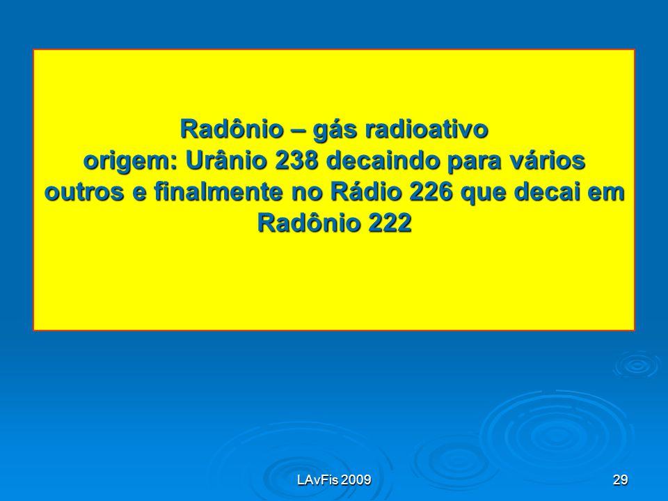 Radônio – gás radioativo origem: Urânio 238 decaindo para vários outros e finalmente no Rádio 226 que decai em Radônio 222