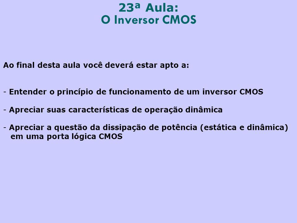 23ª Aula: O Inversor CMOS. Ao final desta aula você deverá estar apto a: Entender o princípio de funcionamento de um inversor CMOS.