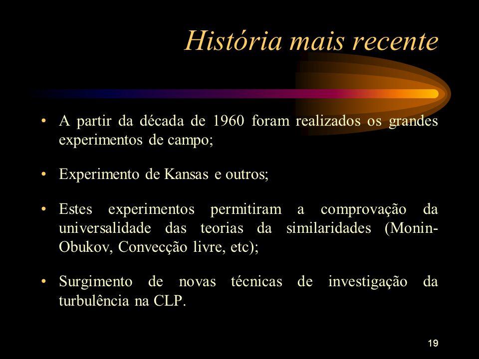 História mais recente A partir da década de 1960 foram realizados os grandes experimentos de campo;