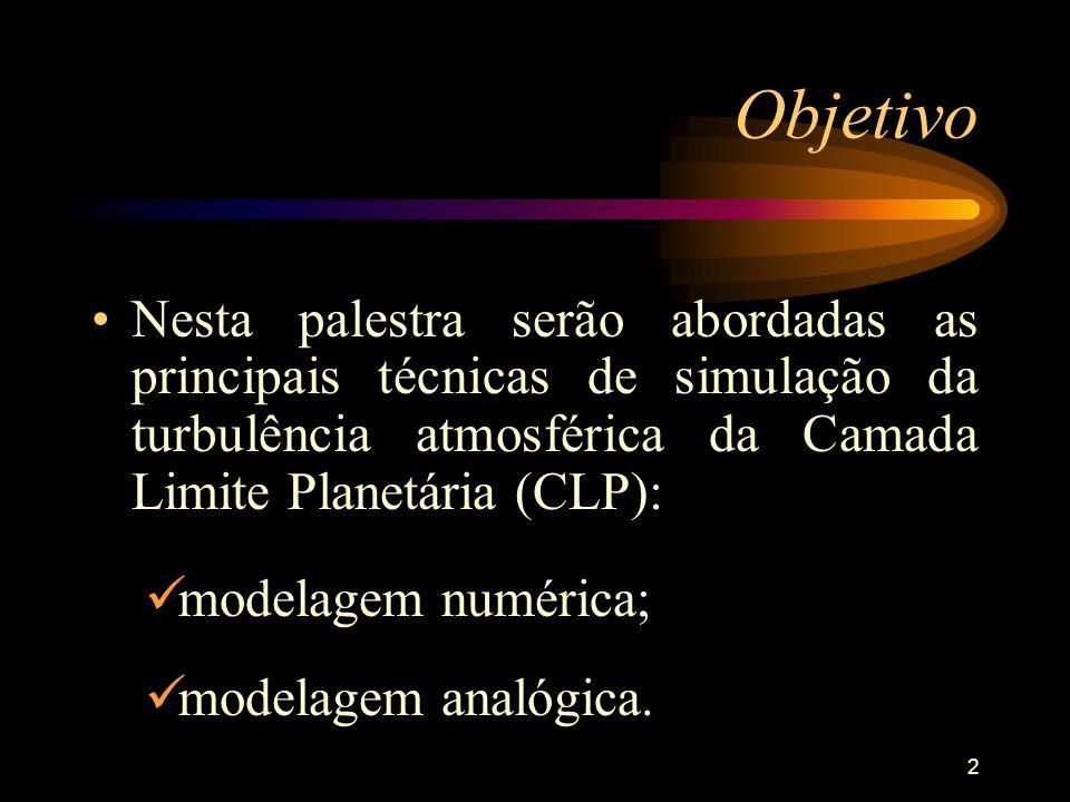 Objetivo Nesta palestra serão abordadas as principais técnicas de simulação da turbulência atmosférica da Camada Limite Planetária (CLP):