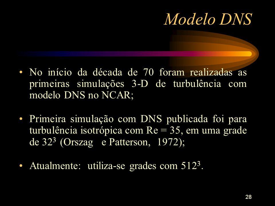Modelo DNS No início da década de 70 foram realizadas as primeiras simulações 3-D de turbulência com modelo DNS no NCAR;