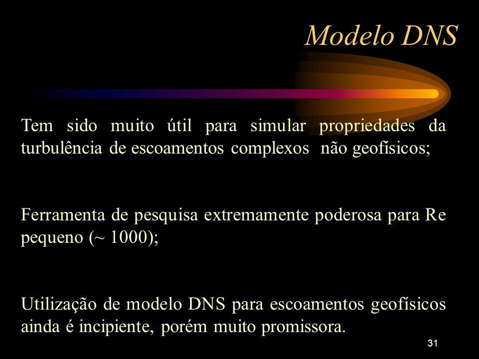 Modelo DNS Tem sido muito útil para simular propriedades da turbulência de escoamentos complexos não geofísicos;