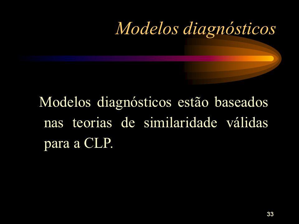 Modelos diagnósticos Modelos diagnósticos estão baseados nas teorias de similaridade válidas para a CLP.