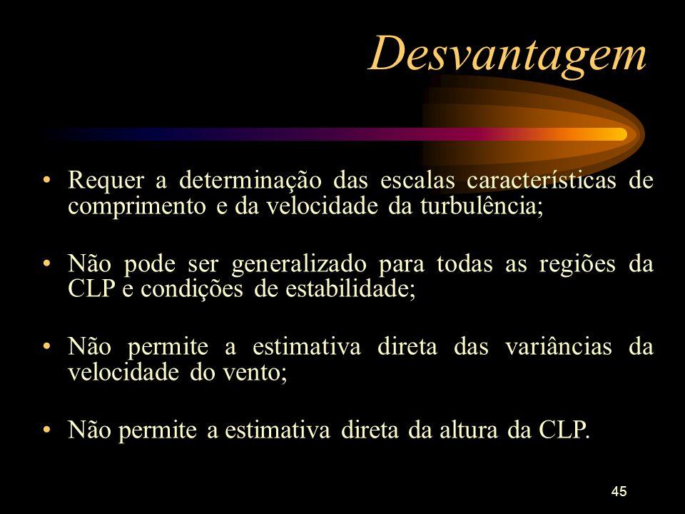 Desvantagem Requer a determinação das escalas características de comprimento e da velocidade da turbulência;