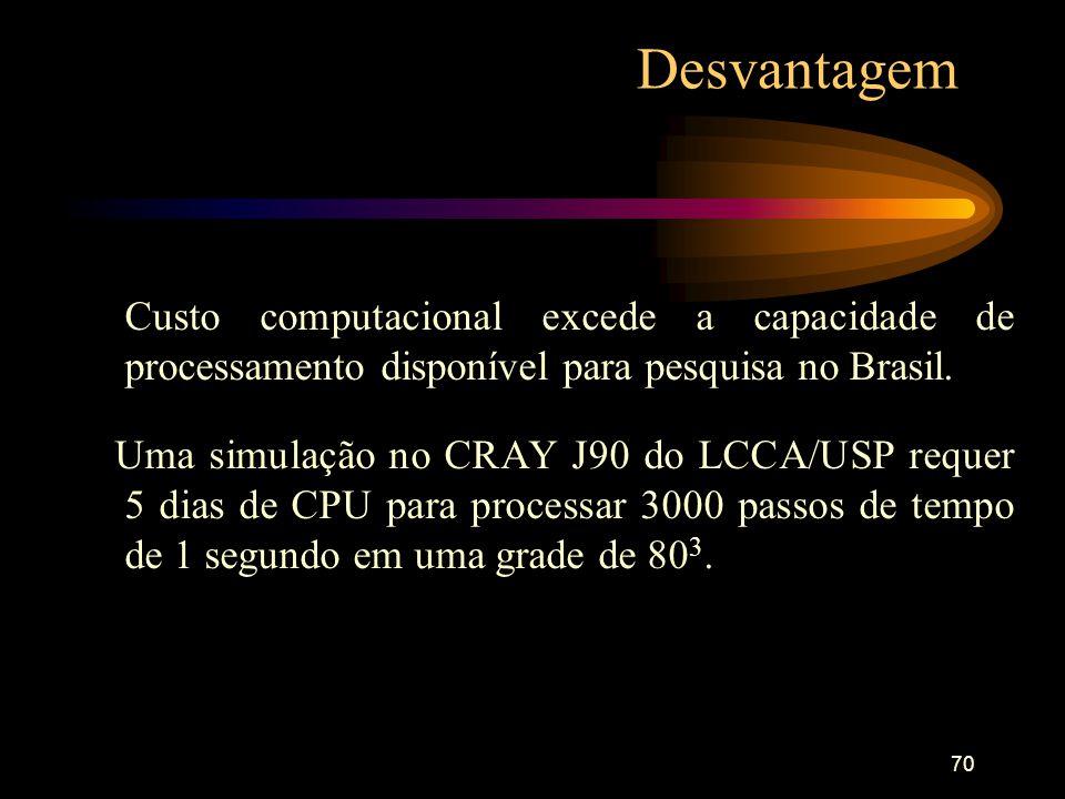 Desvantagem Custo computacional excede a capacidade de processamento disponível para pesquisa no Brasil.