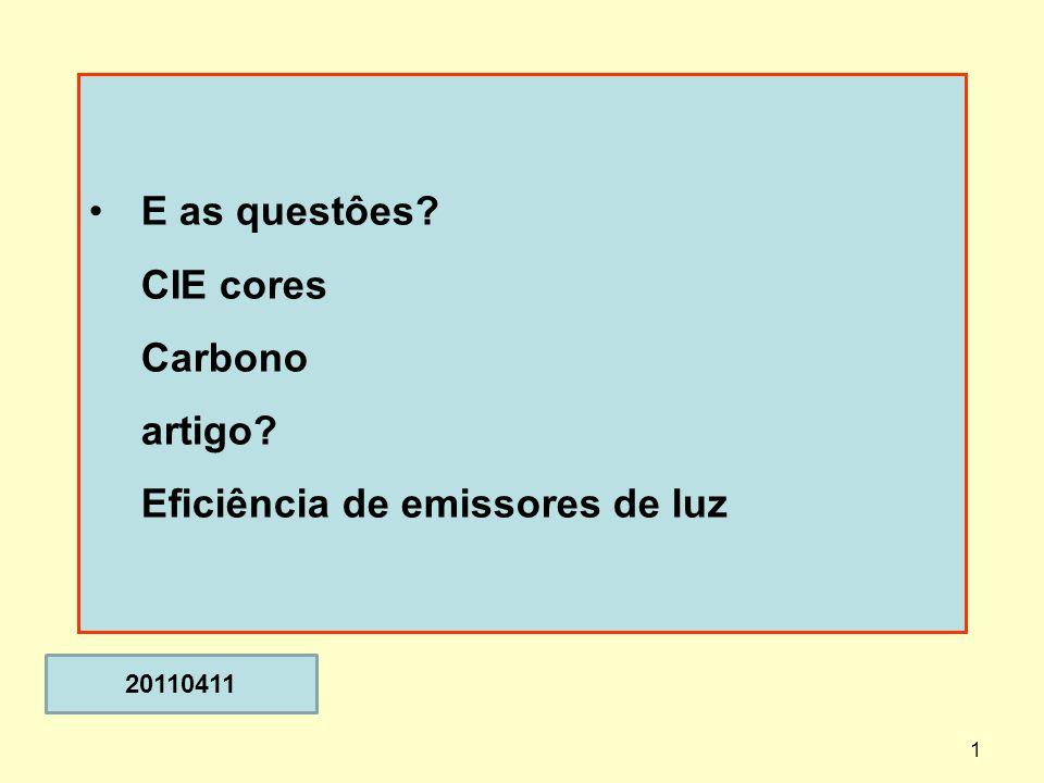 E as questôes CIE cores Carbono artigo Eficiência de emissores de luz