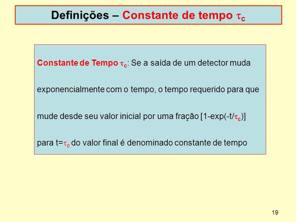 Definições – Constante de tempo tc