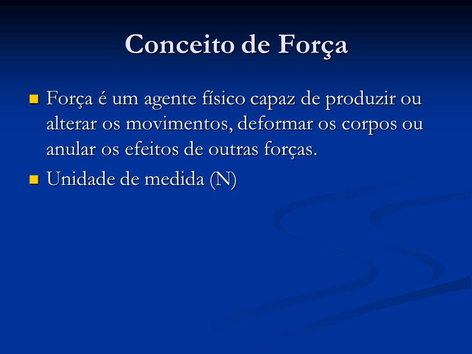 Conceito de Força Força é um agente físico capaz de produzir ou alterar os movimentos, deformar os corpos ou anular os efeitos de outras forças.