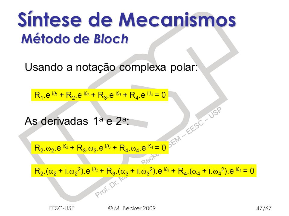 Síntese de Mecanismos Método de Bloch