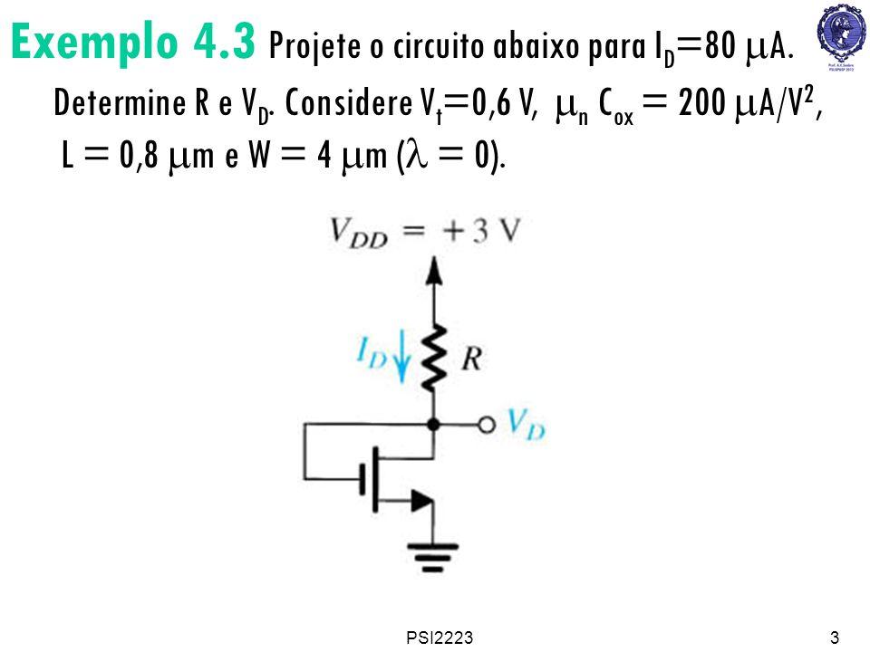 Exemplo 4. 3 Projete o circuito abaixo para ID=80 mA. Determine R e VD