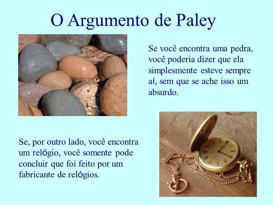 O Argumento de Paley Se você encontra uma pedra, você poderia dizer que ela simplesmente esteve sempre aí, sem que se ache isso um absurdo.