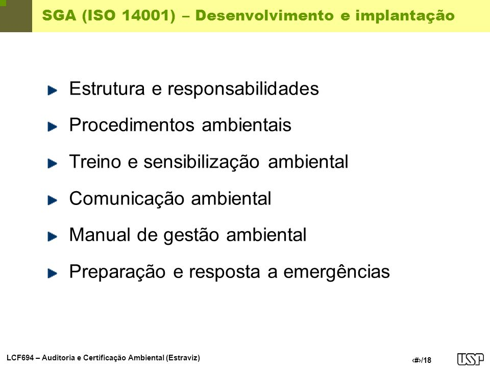 SGA (ISO 14001) – Desenvolvimento e implantação
