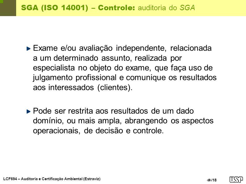 SGA (ISO 14001) – Controle: auditoria do SGA