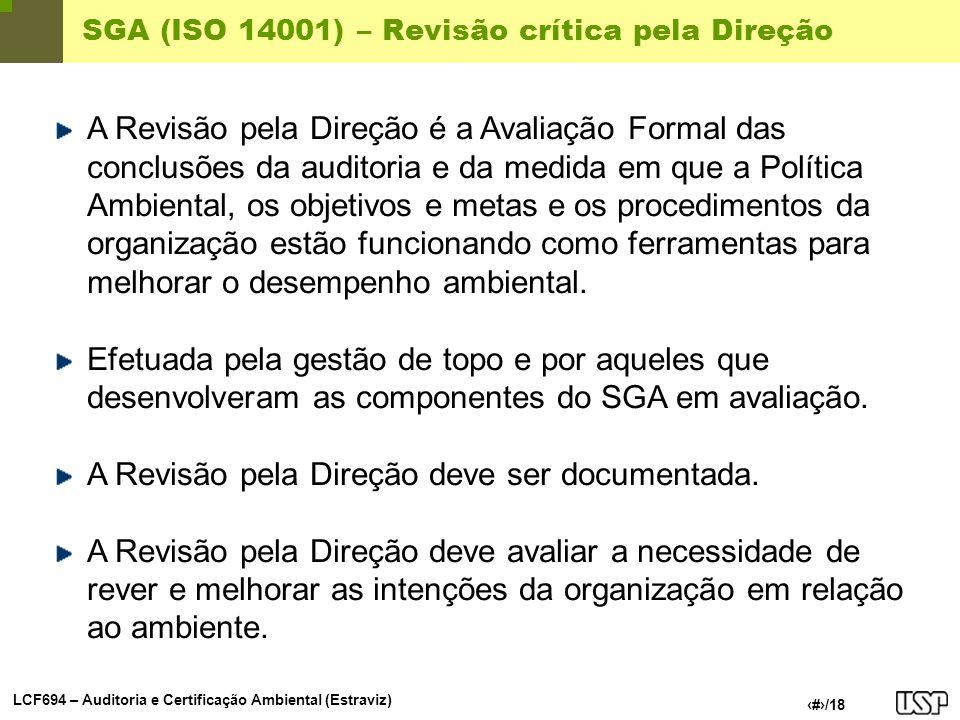 SGA (ISO 14001) – Revisão crítica pela Direção