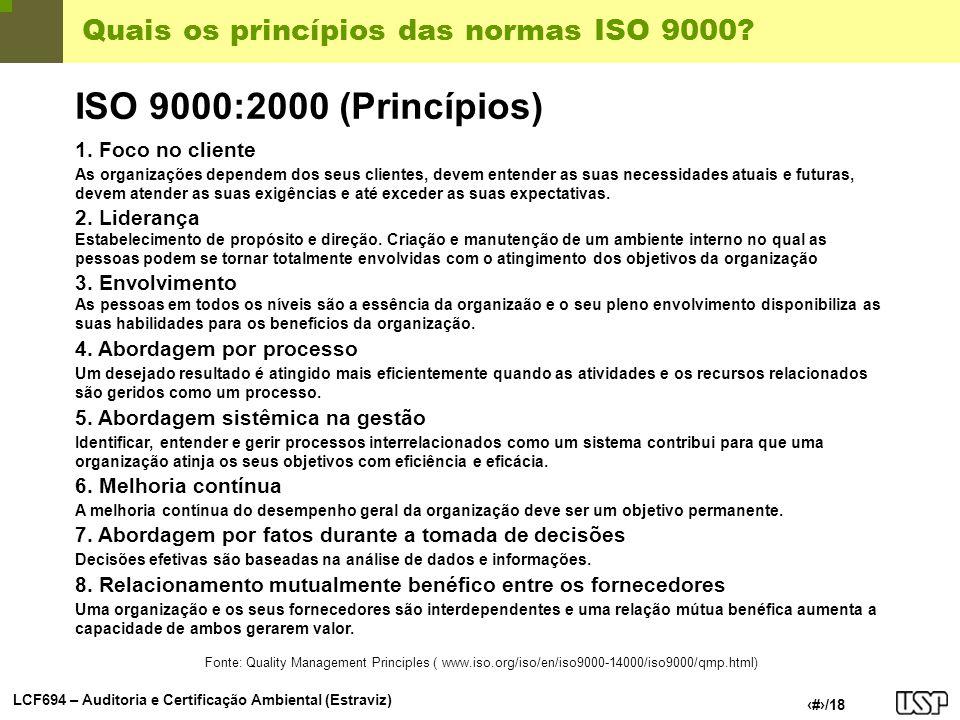 Quais os princípios das normas ISO 9000