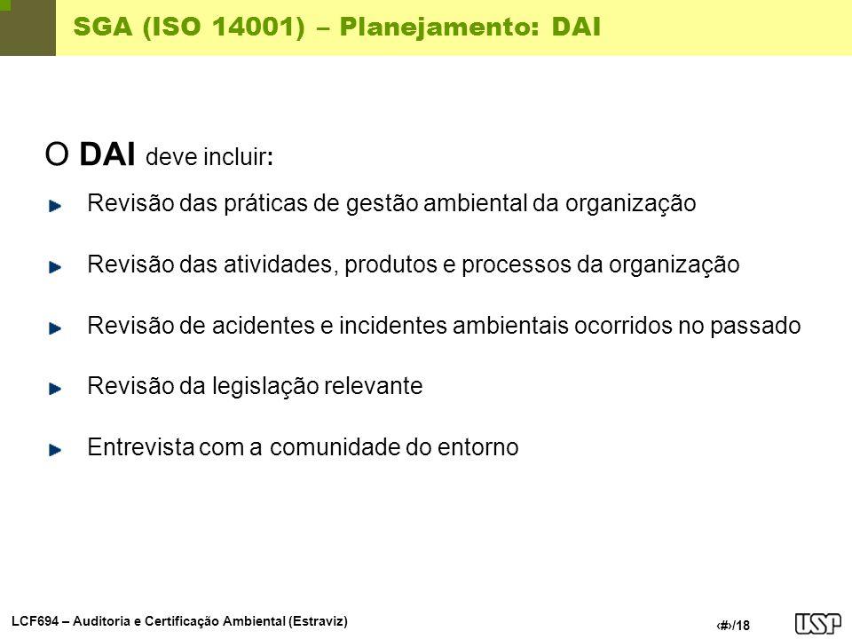 SGA (ISO 14001) – Planejamento: DAI