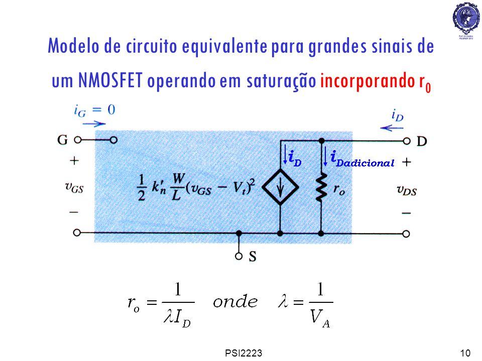 Modelo de circuito equivalente para grandes sinais de um NMOSFET operando em saturação incorporando r0