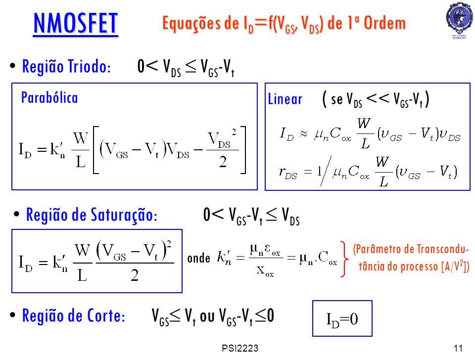 Equações de ID=f(VGS, VDS) de 1a Ordem