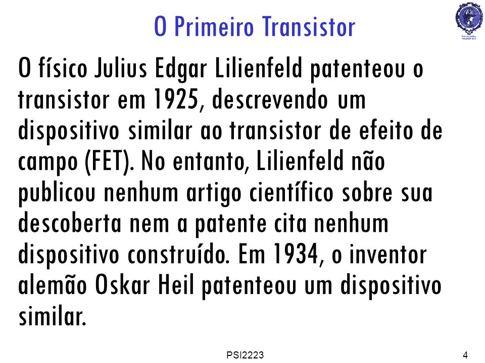 O Primeiro Transistor