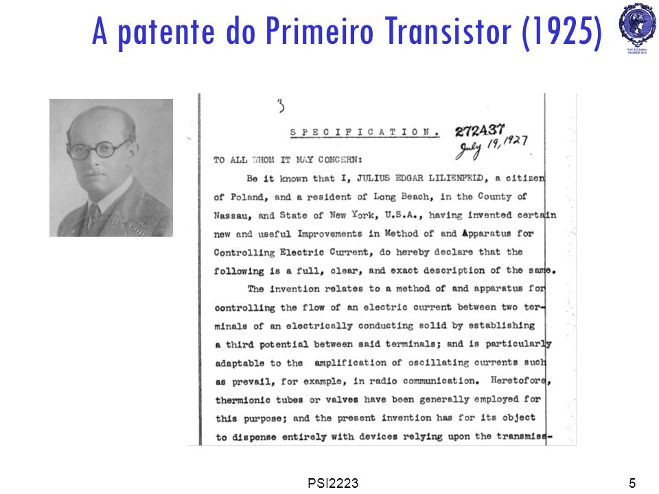 A patente do Primeiro Transistor (1925)