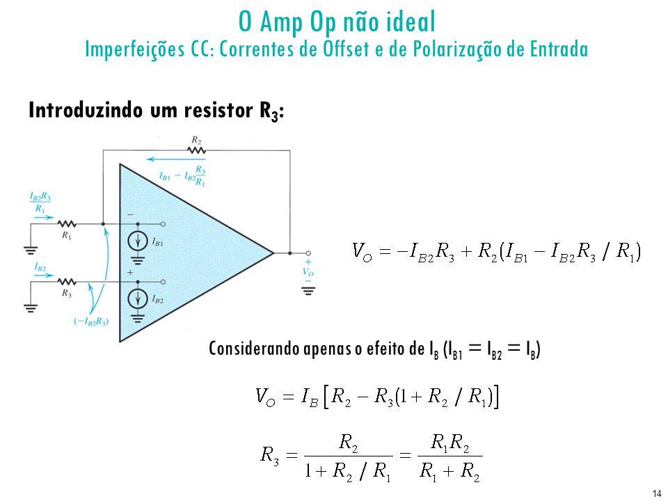 O Amp Op não ideal Imperfeições CC: Correntes de Offset e de Polarização de Entrada. Introduzindo um resistor R3: