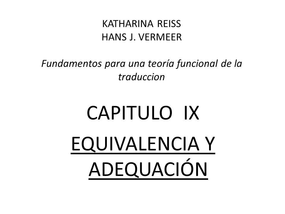 CAPITULO IX EQUIVALENCIA Y ADEQUACIÓN