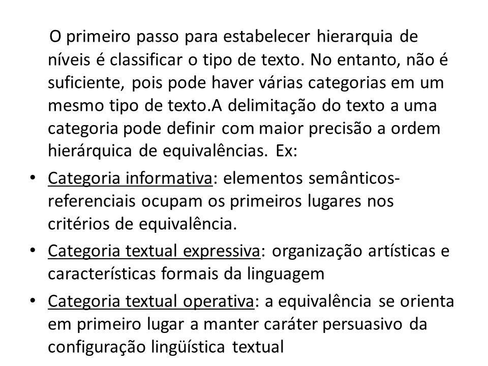 O primeiro passo para estabelecer hierarquia de níveis é classificar o tipo de texto. No entanto, não é suficiente, pois pode haver várias categorias em um mesmo tipo de texto.A delimitação do texto a uma categoria pode definir com maior precisão a ordem hierárquica de equivalências. Ex: