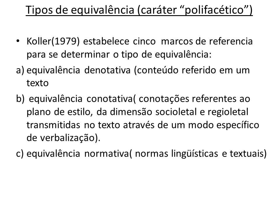Tipos de equivalência (caráter polifacético )