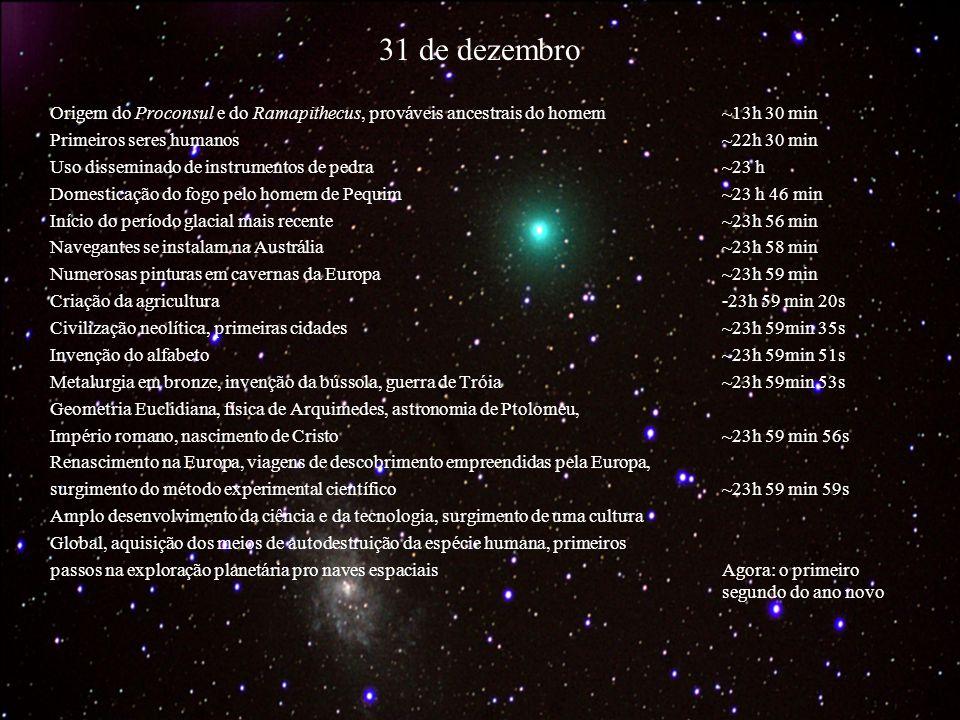 31 de dezembro Origem do Proconsul e do Ramapithecus, prováveis ancestrais do homem ~13h 30 min. Primeiros seres humanos ~22h 30 min.