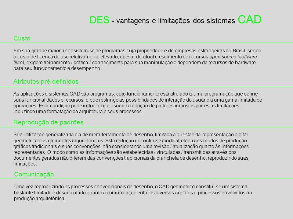 DES - vantagens e limitações dos sistemas CAD