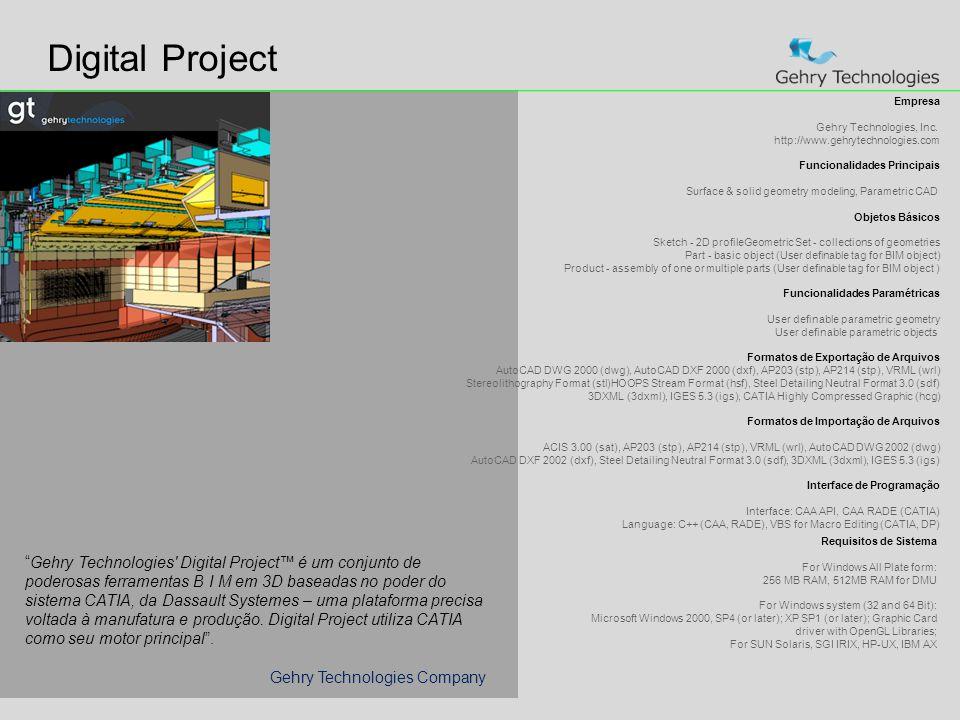 Digital Project Empresa. Gehry Technologies, Inc. http://www.gehrytechnologies.com. Funcionalidades Principais.
