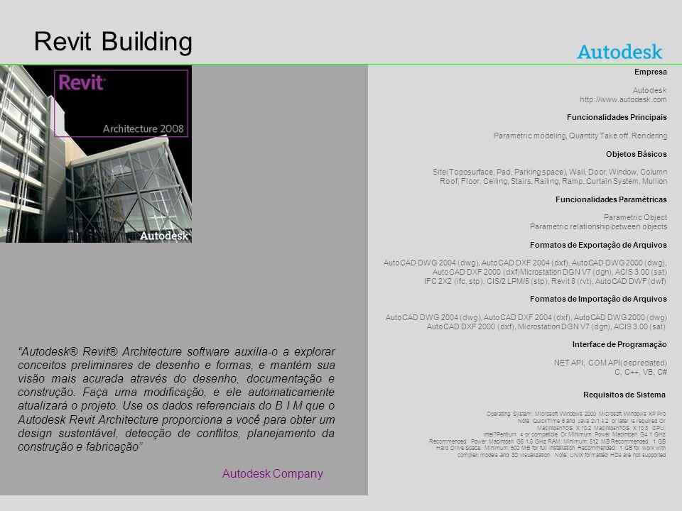Revit Building Empresa. Autodesk http://www.autodesk.com. Funcionalidades Principais. Parametric modeling, Quantity Take off, Rendering.